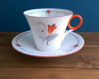 Shelley Art Deco Tea Cup and Saucer c1930s Pattern Number W12577