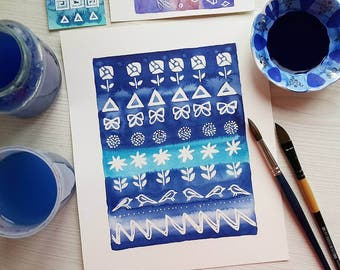 Original watercolor painting Blue wall decor Shibori inspired Geometric modern wall art Abstract art Indigo navy blue turquoise white