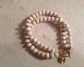 White Bracelet - Turquoise Jewelry - Gold Jewellery - Double Strand - Fashion - Beaded
