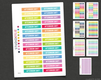 Afternoon Shift Planner Stickers - Repositionable Matte Vinyl