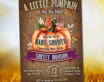 Pumpkin Invitation, Pumpkin Baby Shower Invitation, Pumpkin Shower, Baby Shower Invitation, Digital Printable Personalized Pumpkin Invite