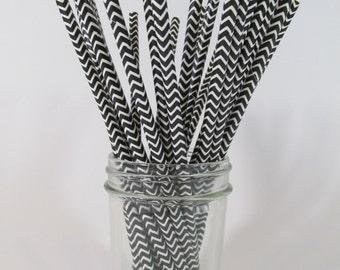 25 Paper Drinking Straws   Party Supplies   Wedding Supplies   Anniversary Supplies  ~ Black & White ~ Chevron