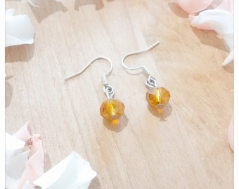 Ochre yellow Bohemian earrings