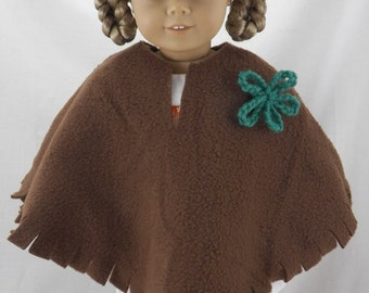 "18"" Doll American Girl Poncho and Hat with Crochet Flower"