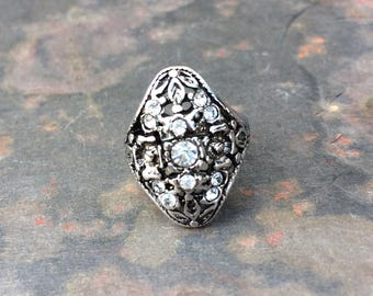 Victorian style rhinestone ring with floral detail and filigree in 18KGE-vintage costume jewelry-navette ring-size 4.75