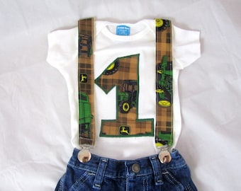 Green Tractors Deere Birthday shirt & suspenders: birthday outfit, yellow, green, brown, birthday party, photo shoot, adjustable, removable
