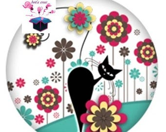 1 glass cabochons 40 mm round cat and flowers theme