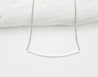 Silver Curved Bar Necklace stainless steel//Minimalist smile bar necklace//Smile necklace silver plated on stainless steel hypoallergenic