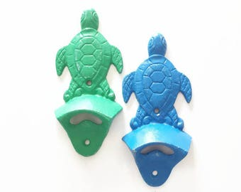 Wall Mount Bottle Opener. Turtle Beer Opener. Gift for Dad. Sea Turtle Wall Decor. Beach House Kitchen. Beach Bar Tools.