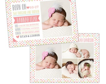 Birth announcement template -  Candy dots  - E901