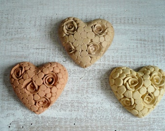 3 little hearts made of ceramic with rose-Ceramic-ceramic-ceramic-small hearts hearts hearts hanging decoration-Christmas hearts
