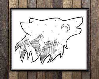 Howling Wolf Print, Night Sky Print, Mountains Art, Sketch Illustration, Moon Print, Wilderness Art, Wolf Head Decor, Constellation Decor
