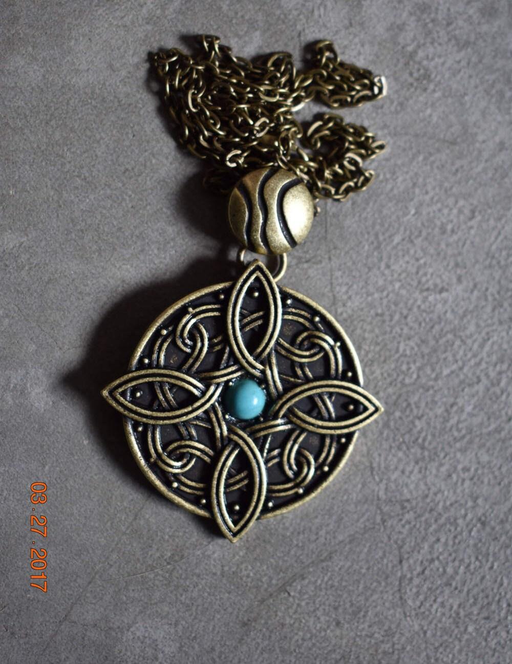 Amulet Jewelry Pendants Sothon: Amulet Of Mara Skyrim Necklace W/ Turquoise Stone. Bronze