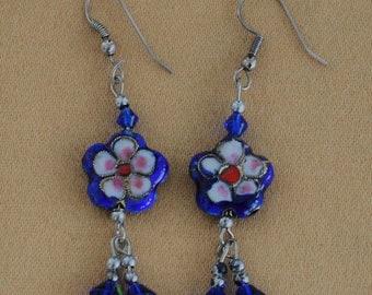 On sale Royal Blue Cloisonne Dangle Pierced Earrings, Vintage (AN2)