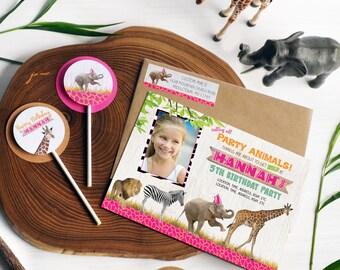 SAFARI Birthday Invitation, Zoo Birthday Invitation, Party Invitations, Birthday Invites, Jungle, Safari Birthday, Safari Party, Zoo Party