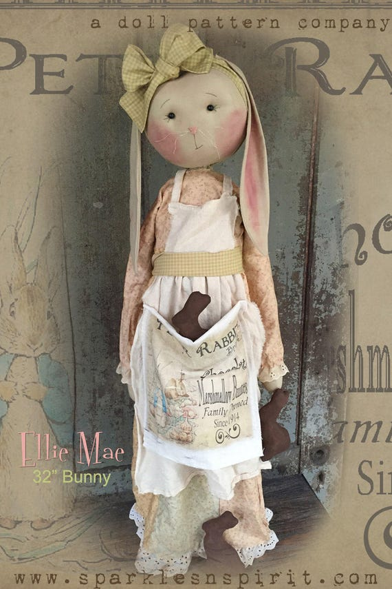 "Doll KIT: Ellie Mae - 32"" Prairie Bunny - Kit of supplies."