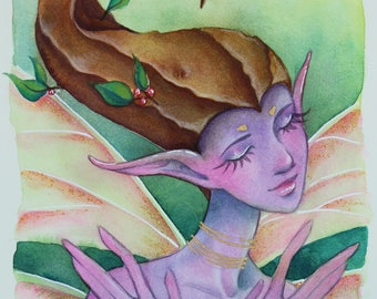 ORIGINAL Watercolor Painting 5X7 Purple Fairy with Glitter Wings