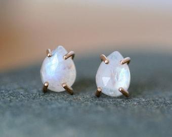 Moonstone stud earrings, rose cut moonstone earrings,moonstone and gold filled studs, Rachel Wilder Handmade Jewelry