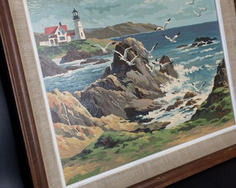 Ocean Lighthouse Seagulls Paint By Number - Seaside Painting - Coastal Painting