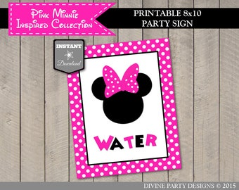 INSTANT DOWNLOAD Printable Hot Pink Mouse 8x10 Water Party Sign / Hot Pink Mouse Collection / Item #1761