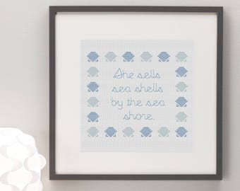 She Sells Sea Shells Cross Stitch Pattern
