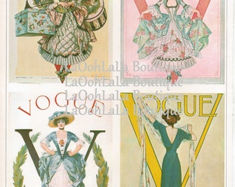 1910s Vogue Digital Collage Sheet Fashion Magazine Cover Print Set of 4 Downloadable Graphic Printable Aceo Images Scrapbook Supply Download