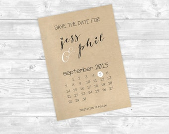 Simple Brown Paper Rustic Save the Date Wedding Invite Black and White
