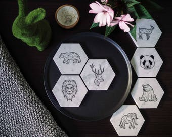Carrara Marble Coasters - Stone Coasters - Housewarming Gift - Geometric - Animal Collection (6 Pack) - Marble