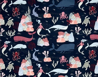 Into the Reef in Navy  631 - INTO THE REEF  by Rae Ritchie - Dear Stella Design Fabric - By the Yard