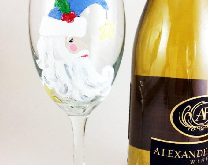 Christmas Wine Glass, Holiday wine glass, Custom wine glass, Christmas gift bag, Painted wine glass, Wine glasses, wine lover gift, Santa