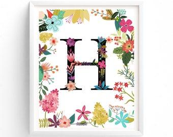 Garden Series, Printable Letter H Monogram, Floral, Nursery, Boho Initial Print