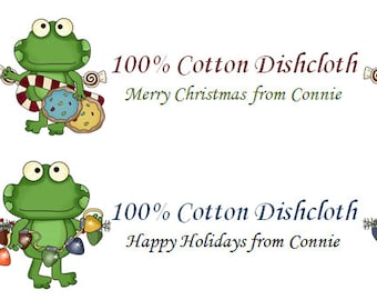 PDF - Funny Christmas Frogs - Dishcloth Washcloth Wrappers - Labels, Tags