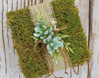 Rustic Moss Ring Bearer Pillow with Succulents