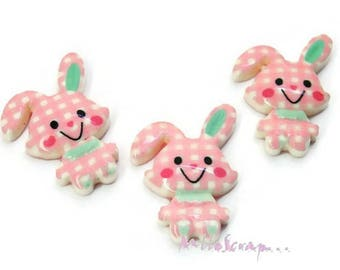 Set of 3 bunnies pink clear resin embellishment scrapbooking card making (ref.410) *.