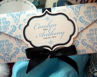 Something Blue Damask Wedding Invitation with Hand Cut Frame Monogram - SAMPLE