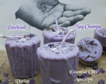 PATCHOULI & NAG CHAMPA Votive Candle - Tea Light Candle - Amethyst Stones ~ Crystal Infusion Herbal Loaded ~ Essential Oils ~ Gift Box