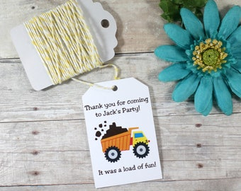 Construction Party Tags 20 pc - Boy's Birthday Party Favors - Custom Thank You Tags - Kids Party - Thanks for Rolling By - Children's Party
