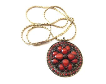 Bohemian / Boho / Ethnic Style Brass Metal Circular Shaped Red Poured Glass Lotus Flower & Embossed Mandala Reversible Pendant Necklace