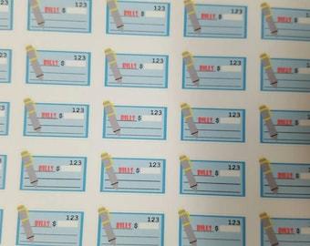 Bill Check Stickers! Great for Erin Condren, Filofax, Kikki.K, or Plum Paper Planners!