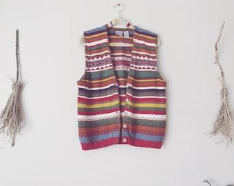 Rainbow Color Block Knit Vest