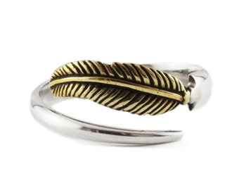 Silver Feather Ring Sterling Brass Rings for Man Jewelry