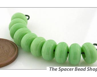 GRASSHOPPER GREEN Lamp Work Beads Spacers Glass Handmade - The Spacer Bead Shop