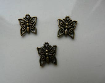 x 2 12x14mm bronze Butterfly charm