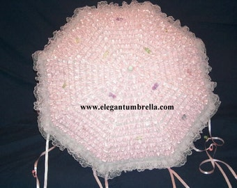 """45"""" Pink Lace Baby Shower Umbrella with clamp handle"""