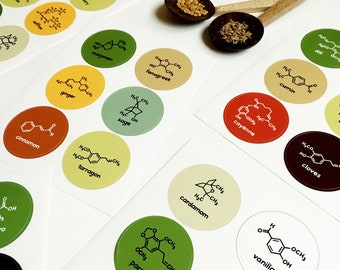 Chemistry Spice Labels Jar Stickers - Food Science Herbs Spices - 36 Waterproof Stickers - Nerd Geek Chef Cook Kitchen House Decor