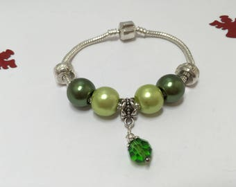 Charm's, green charm bracelet with Crystal ref 686