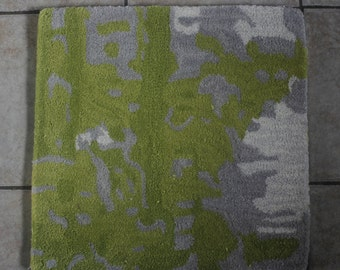 Unique Abstract  Green, Gray 100% Wool Rug Sample/Accent Rug 1X1