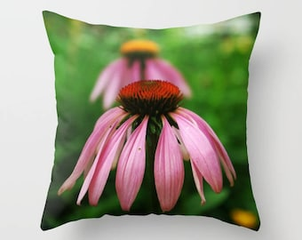 Purple coneflower throw pillow OR pillow cover | decorative pillow, home decor, living room decor, nature inspired, nature lover gift
