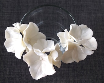 Set of 3 White Hydrangea Hair Pins, Ivory pins Weddings, Hair accessories, Hair pins, Hair Jewellery, hydrangea hair clip