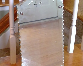 Vintage Etched Mirror, Floral Design, Decorative Edges, Wall Mirror